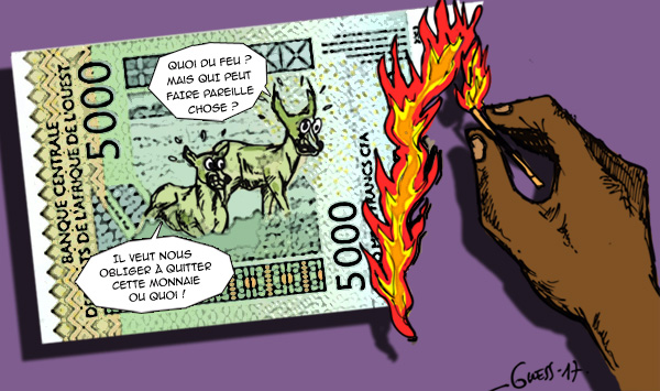 Les antilopes qui ornent le billet de 5 000 FCFA n'ont qu'à bien se tenir. Kémi Séba a decidér de les en déloger. Dessin : Guess